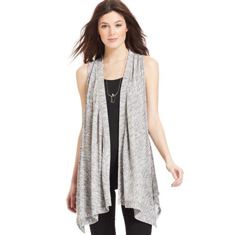draped vest dkny heatheredknit sleeveless draped vest in gray smoke