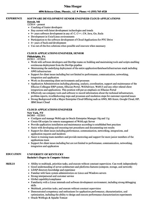 resume format for application engineer cloud applications engineer resume sles velvet