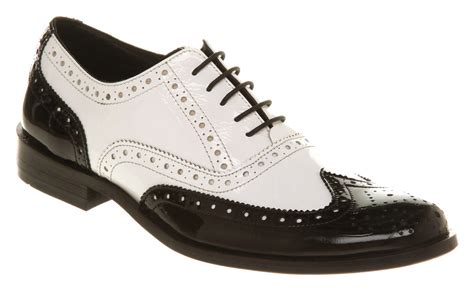 mens office frankie brogue black white leather shoes ebay