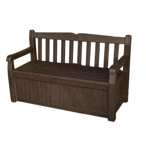 outdoor storage bench home depot keter 70 gal bench deck box in brown 213126 the home depot
