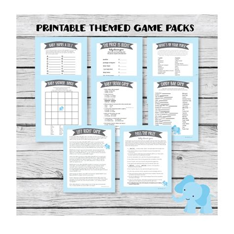 blue themed games printable baby shower game pack blue elephant jungle