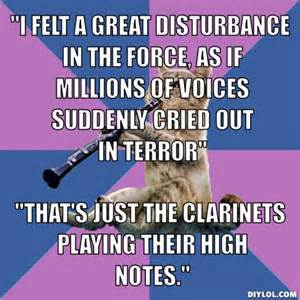 Clarinet Player Meme - clarinet cat star wars meme band pinterest cats