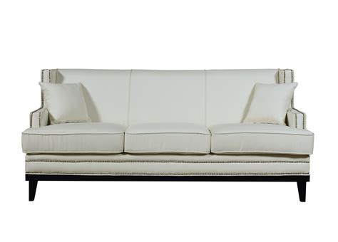 fabric sofa with nailhead trim modern soft linen fabric sofa with nailhead trim details
