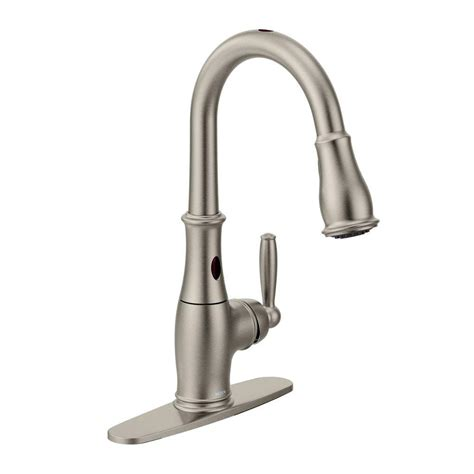 moen haysfield single handle pull down sprayer kitchen moen brantford single handle pull down sprayer touchless