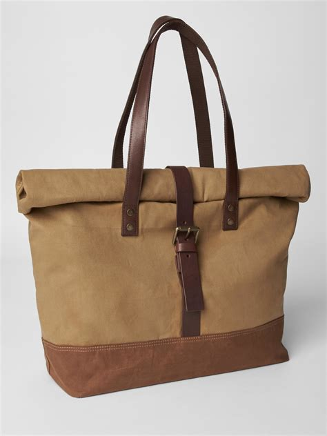 Gap Productred Canvas Tote by Gap Roll Top Waxed Canvas Bag In Beige For