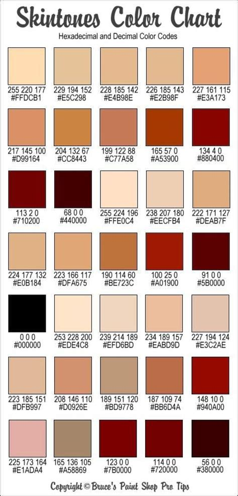 different skin colors rgb and hex codes for different skin and hair tones