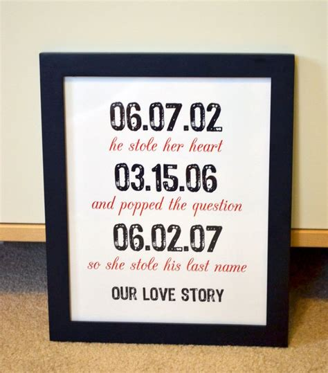 gift for wife first anniversary 8x10 art gift important dates