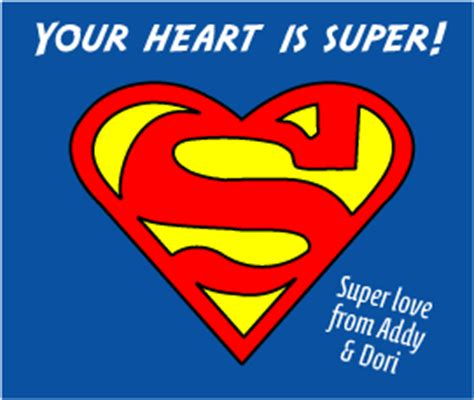 superman valentines addy learns s card