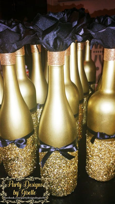 black and gold centerpieces for tables diy black gold centerpieces spray painted wine bottles
