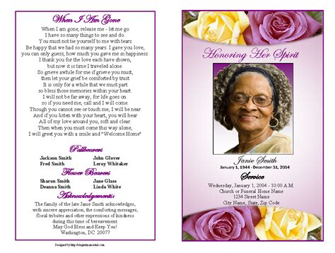 obituary program template funeral program template http webdesign14
