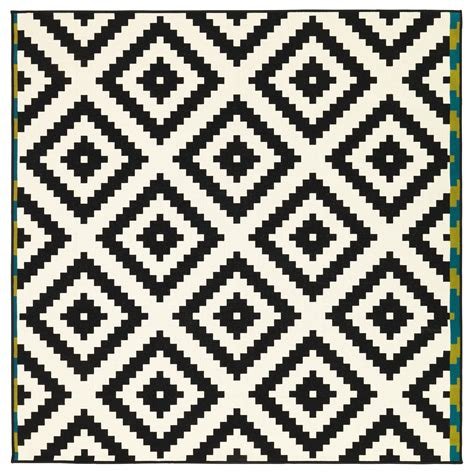 cute geo pattern lappljung ruta rug low pile white black 200x200 cm ikea