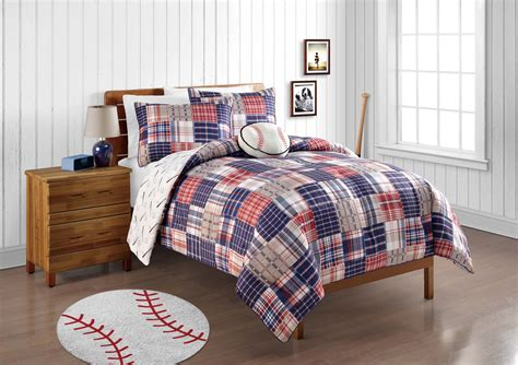 magnificent baseball comforter with white curtains