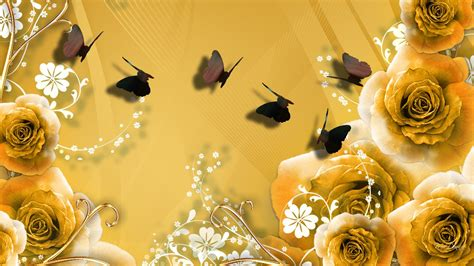 wallpaper flower gold gold roses walldevil