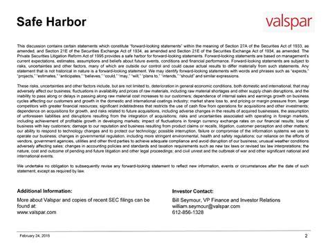 supplemental k 1 information statement valspar corp form 8 k ex 99 1 supplemental slide