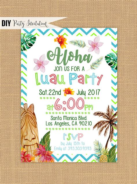 Luau Wedding Invitation Template by Luau Invitation Printable Luau Birthday Invitations