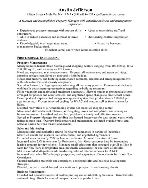 property manager resume exle property manager free resumes
