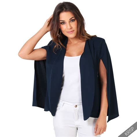 Cape Blazer Jacket Jaket womens open split sleeve cape blazer casual fashion suit poncho jacket coat ebay
