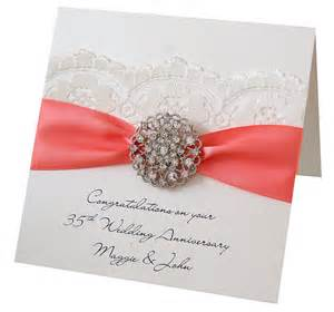 opulence coral wedding personalised anniversary card by made with designs ltd