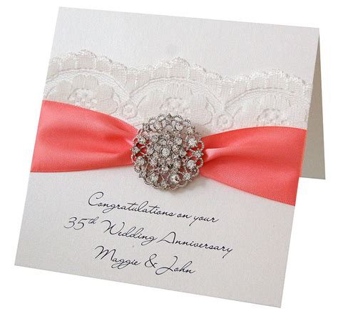 wedding anniversary card opulence coral wedding personalised anniversary card by