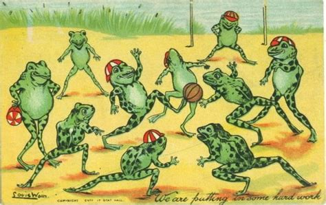 about postcards louis wain frogs playing football