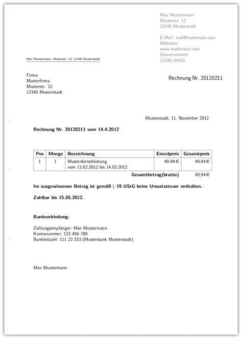 Rechnung Privatperson Ohne Umsatzsteuer rechnung muster muster rechnung privatperson