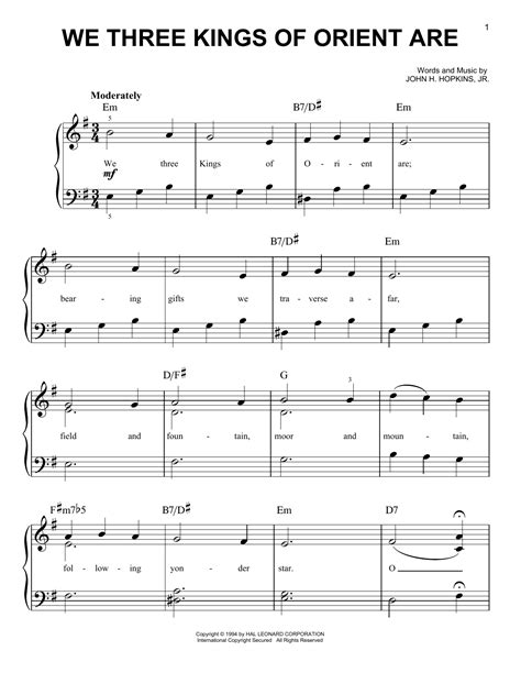 printable lyrics we three kings we three kings of orient are sheet music direct