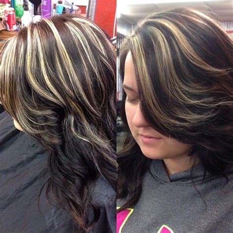 chunking highlights dark hair pictures chunky blonde highlights and dark base hair pinterest