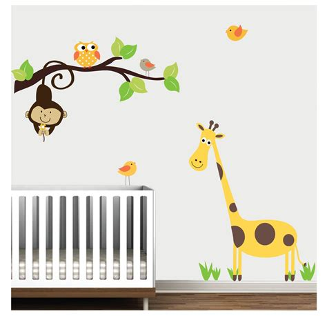 Jungle Wall Decalnursery Wall Decalsgiraffe Monkey Jungle Wall Decal For Nursery