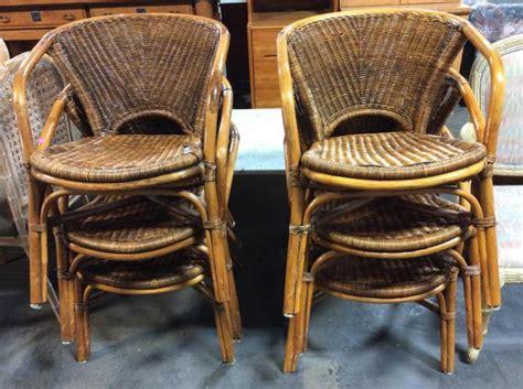 wicker barrel dining chair 6pc rattan bamboo wicker barrel dining chairs