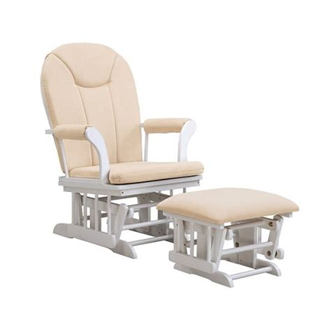 Glider Rocker And Ottoman Set Kendall Sleigh Style Glider Rocker And Ottoman Value Set White Finish With Beige Micro Fiber
