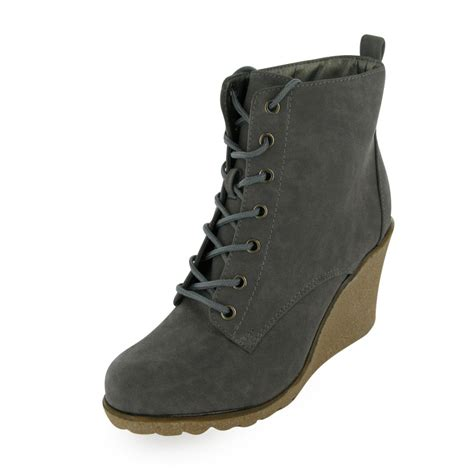 grey lace up wedge ankle boots size 3 8 bnib uk ebay