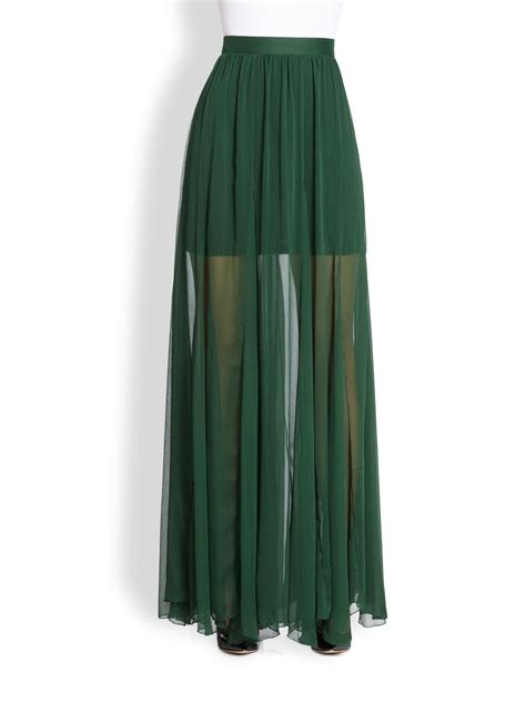 adme godet maxi skirt in green pine lyst