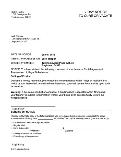 sle eviction notice letter alabama notice to vacate sle 7 28 images iowa 7 day notice to
