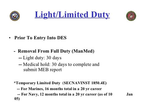 what is light duty work peb dtap csc