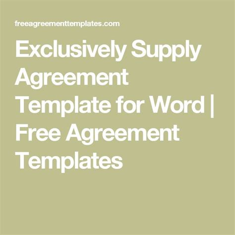 Supply Agreements Free Templates exclusively supply agreement template for word free