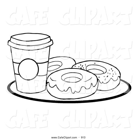 Cartoon Donut Black And White Donuts Coloring Pages