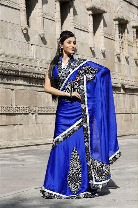 Azure Fashion Blouse Brina Navy picture of azure blue chiffon saree with blouse bwd902