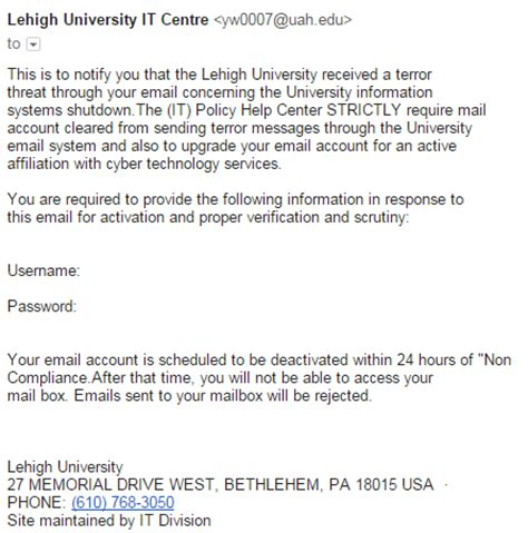 Recent Phishing Exles Library Technology Services Spam Warning Email Template