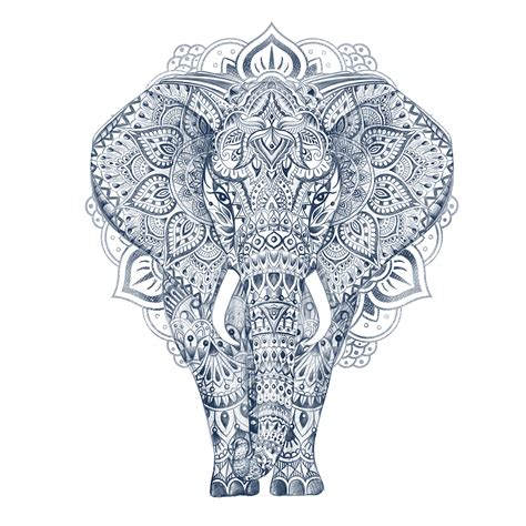 aztec pattern sketch illustration pen hand drawing elephant aztec pattern