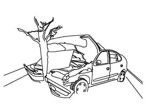 wrecked car drawing crashed cars to tree coloring pages netart