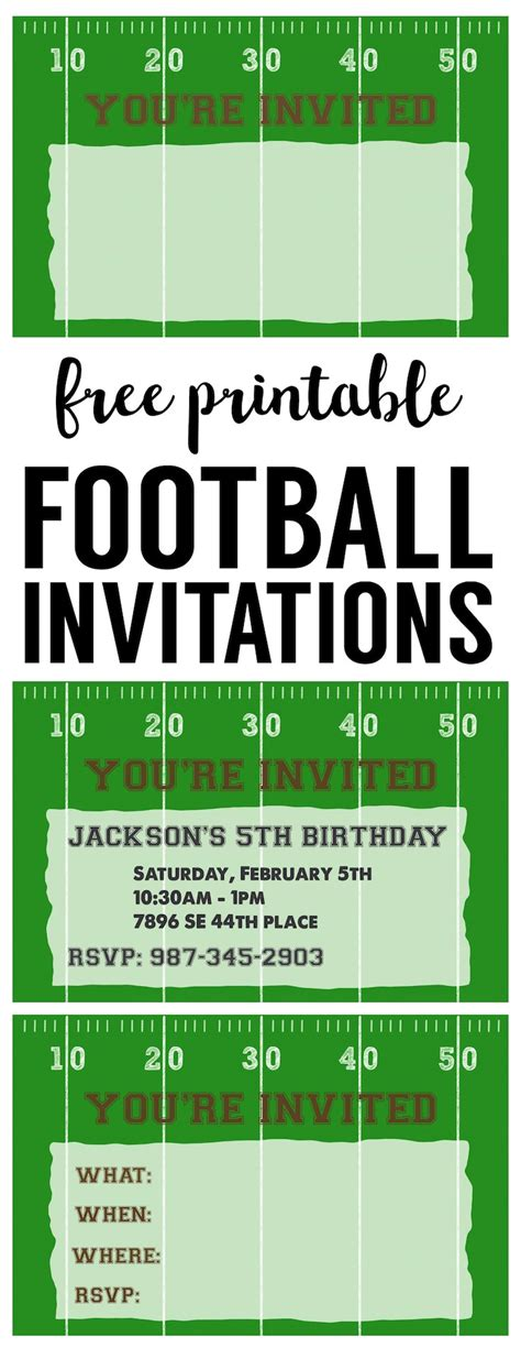 Football Party Invitation Template Free Printable Paper Trail Design Soccer Ticket Invitation Template Free