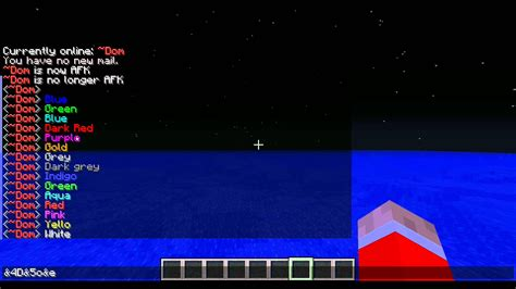 minecraft color id minecraft bukkit chat and nick colour codes