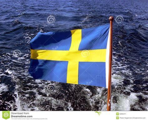 sea fox boats europe swedish flag on boat stock image image 5265411