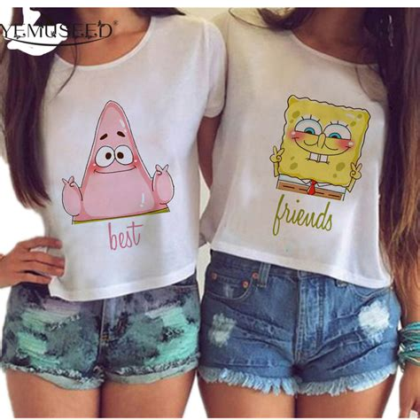 imagenes de blusas kawaii yemuseed women harajuku best friends couple crop tops