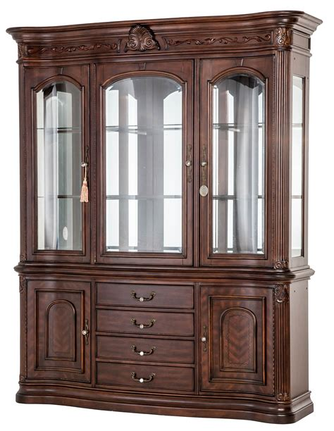 Michael Amini Villagio Buffet & Hutch Hazelnut China Cabinet by AICO