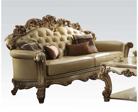 Formal Leather Sofa by Vendome Formal Tufted Sofa Loveseat Set In Gold