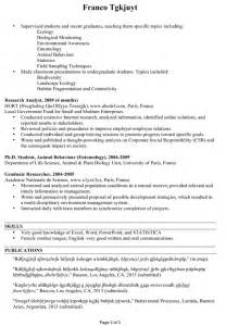 Sample Resume For Zoologist by Chronological Cv Sample Ecologist Environmentalist