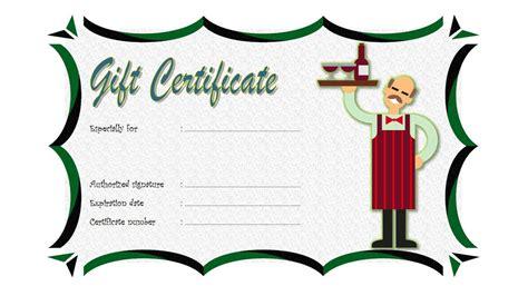 Restaurant Gift Certificate 3 Best 10 Templates Meal Gift Certificate Template