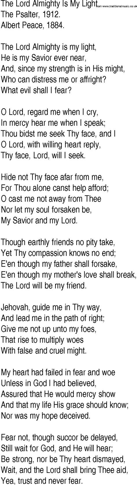 The Lord Is Light Lyrics by Hymn And Gospel Song Lyrics For The Lord Almighty Is