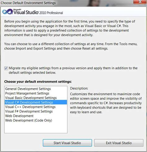 how reset visual studio settings c changing default enviromnent setting when starting